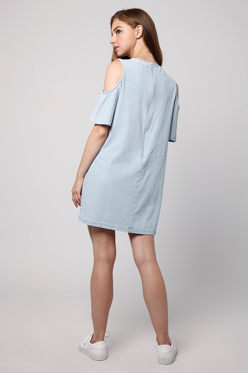 MESSY DENIM DRESS LIGHT BLUE