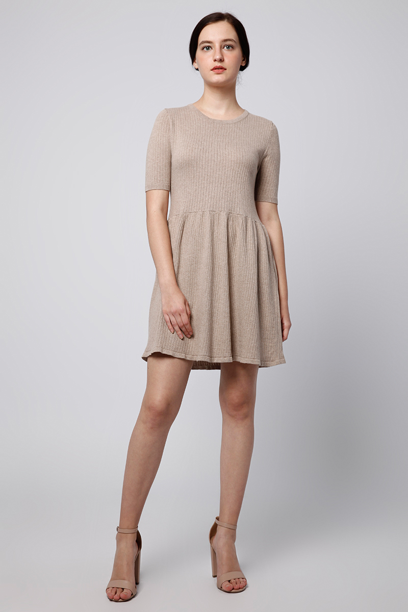 CARA DRESS KNIT BROWN