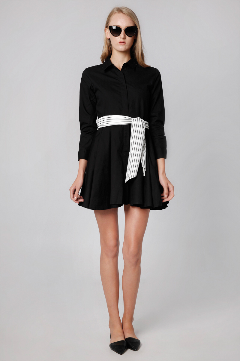 GINA POPPLIN DRESS BLACK