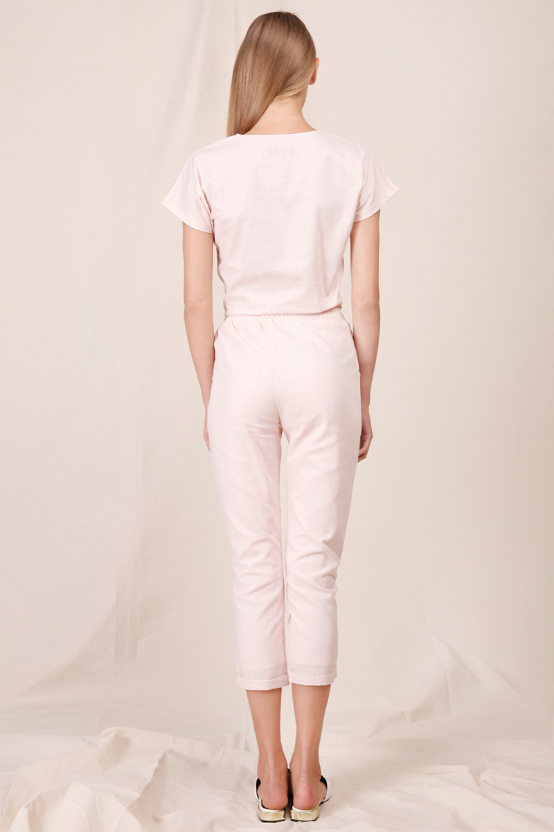HOLLY LINEN TOP DUSTY PINK