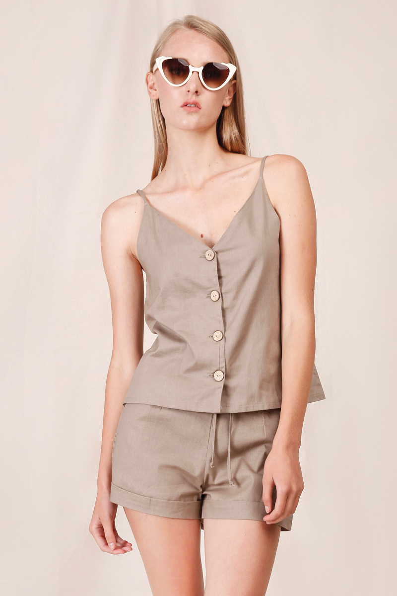 LEAF LINEN TANK BROWN