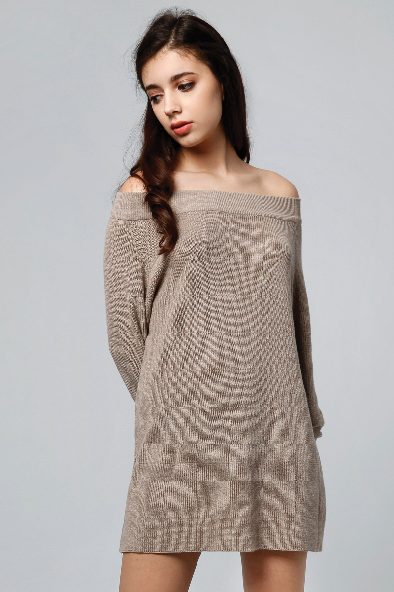 MOLUNA KNIT DRESS BROWN