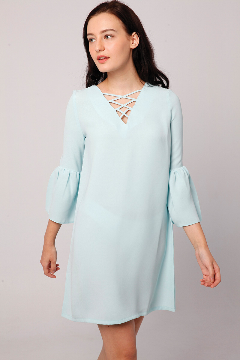 RUBY LACE UP DRESS BABY BLUE