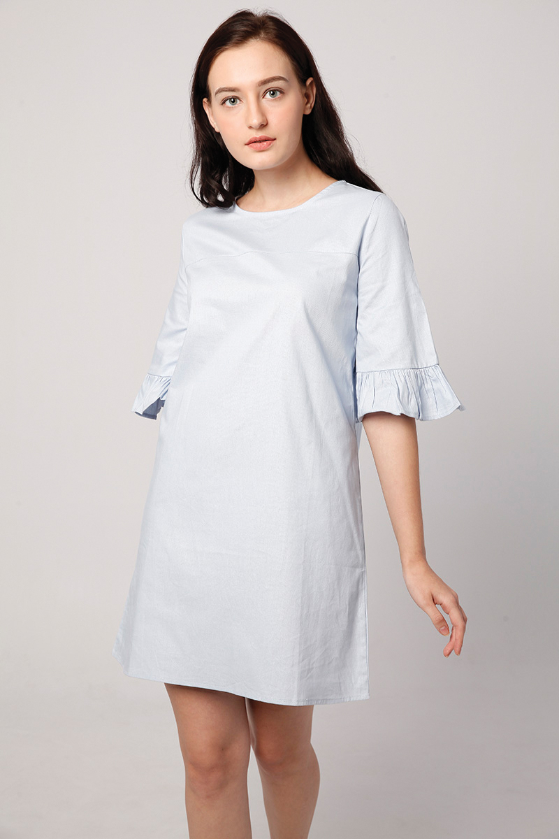 RUFFLE DRESS BABY BLUE