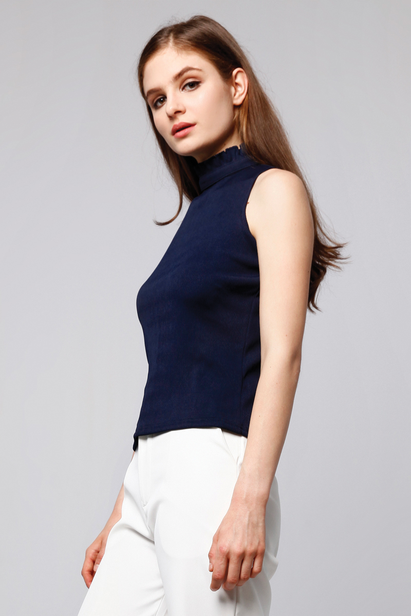 RUFFLE RIB TOP NAVY