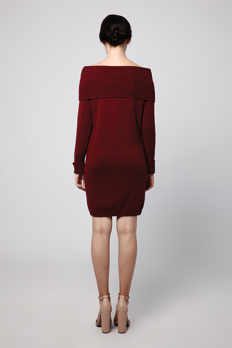 SABRINA KNIT DRESS MAROON