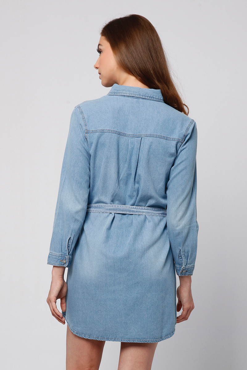 SHIRT DENIM DRESS LIGHT BLUE