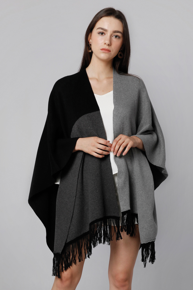 THREE TONE KNIT OUTER GREY