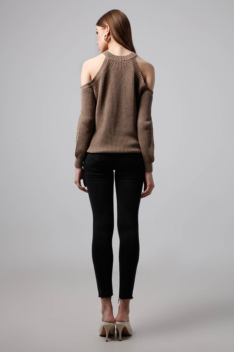 CUTOUT TOP KNIT BROWN