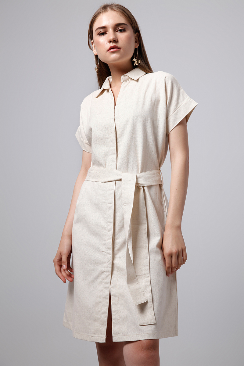 WALNUT SHIRT DRESS CREME