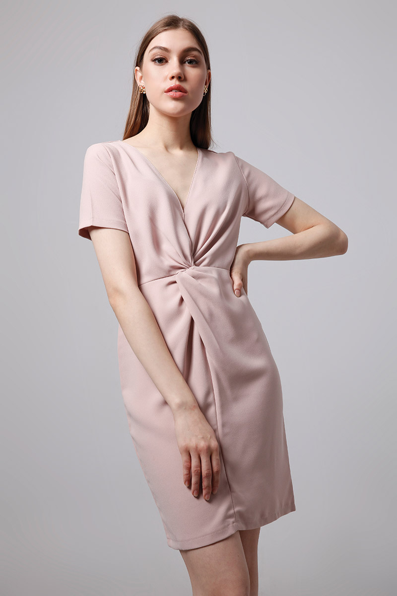 AUGUST DRESS DUSTY PINK
