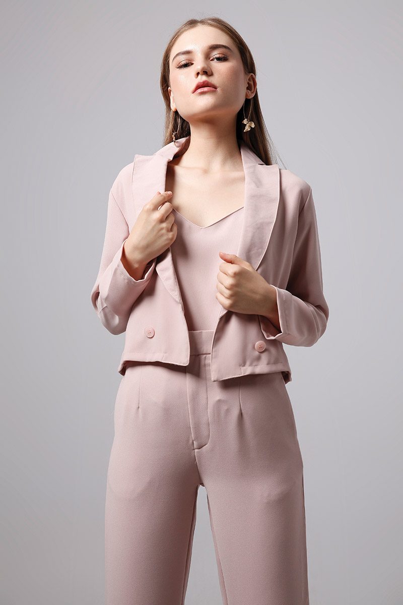 LEA CROP BLAZER DUSTY PINK