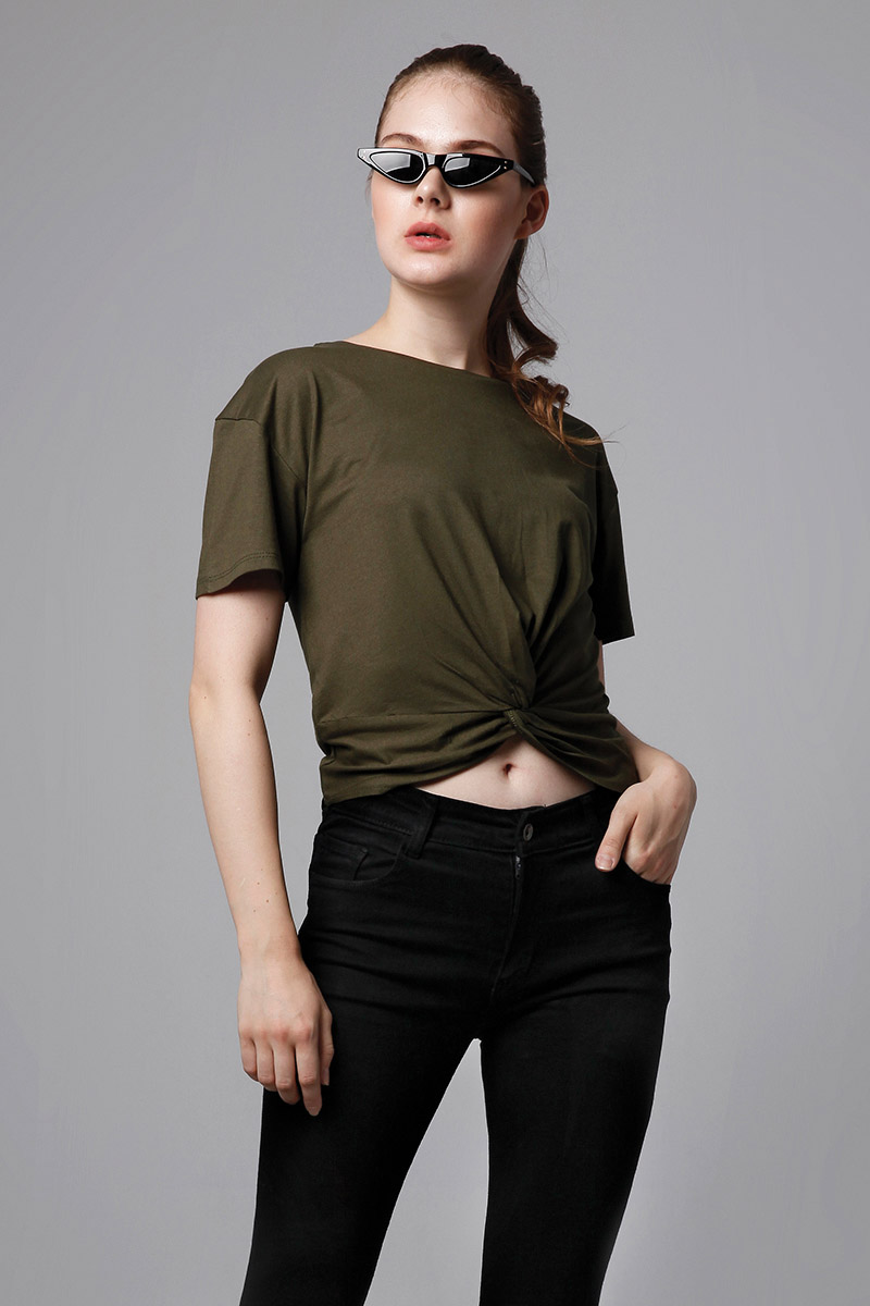 MIU KNOT SHIRT ARMY