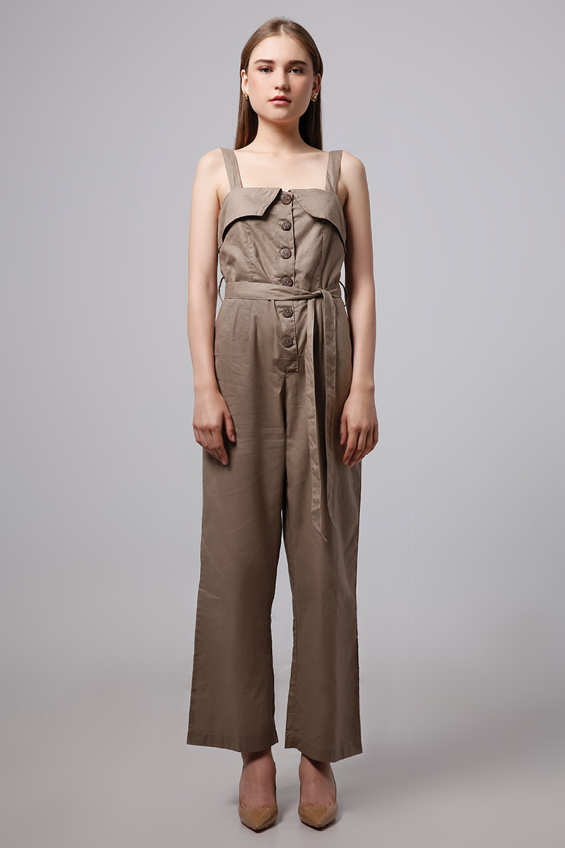 9a352b8a5f TARO LINEN JUMPSUIT BROWN TARO LINEN JUMPSUIT BROWN ...