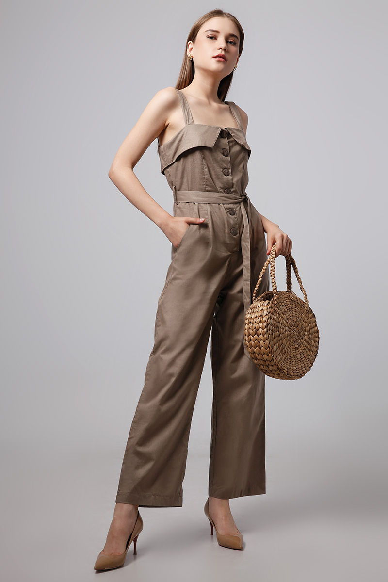 b00b9bfc16 TARO LINEN JUMPSUIT BROWN – LOOKBOUTIQUESTORE