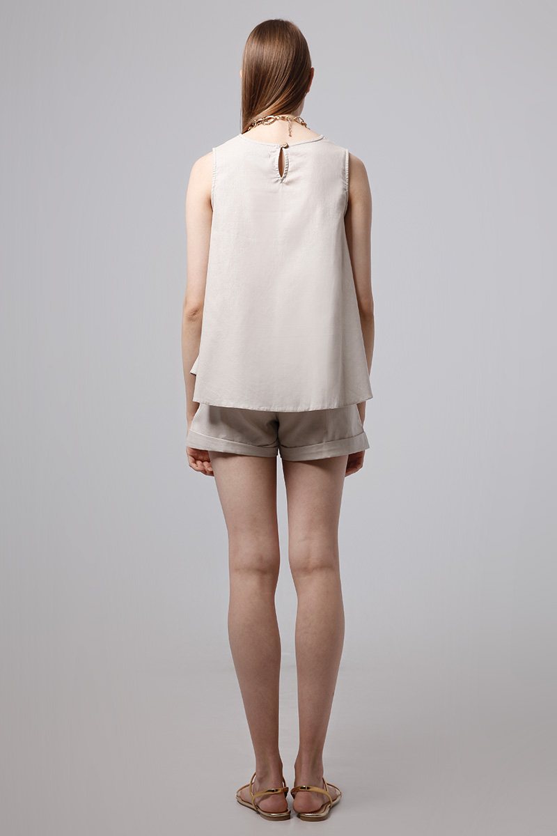 WOODY LINEN TOP NUDE