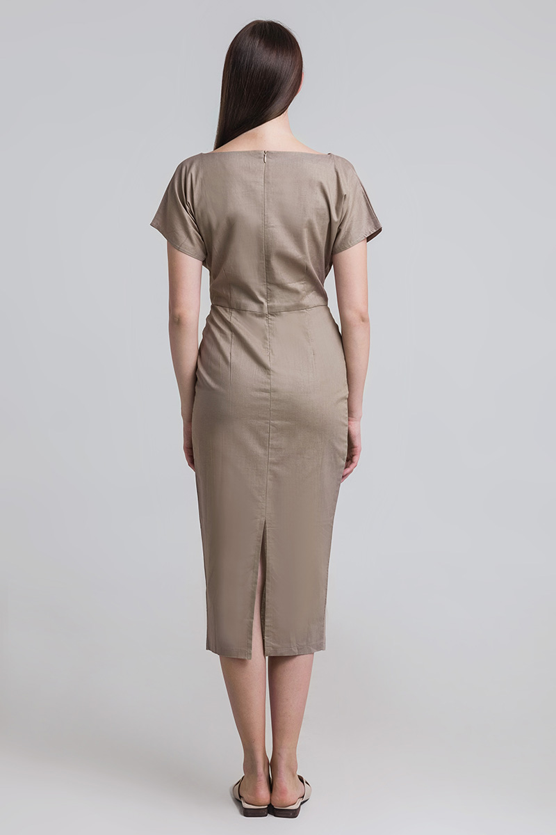 OVAL LINEN DRESS BROWN