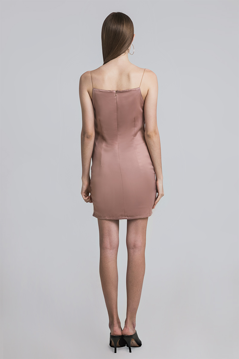 DRAPE SILK DRESS BROWN