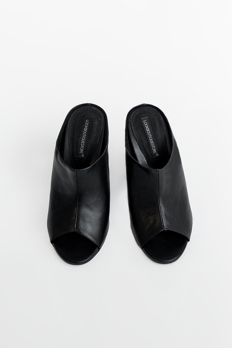 TAYLOR OPEN-TOE SHOES BLACK