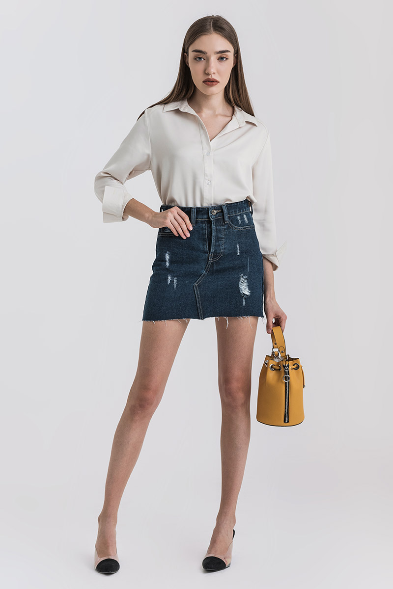 WARN DENIM SKIRT DARK BLUE