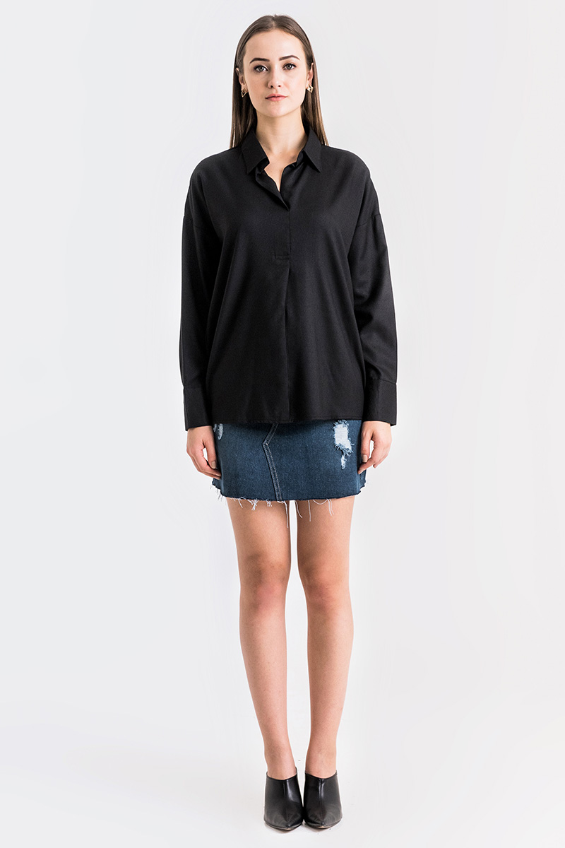 COTTON LOOSE SHIRT BLACK