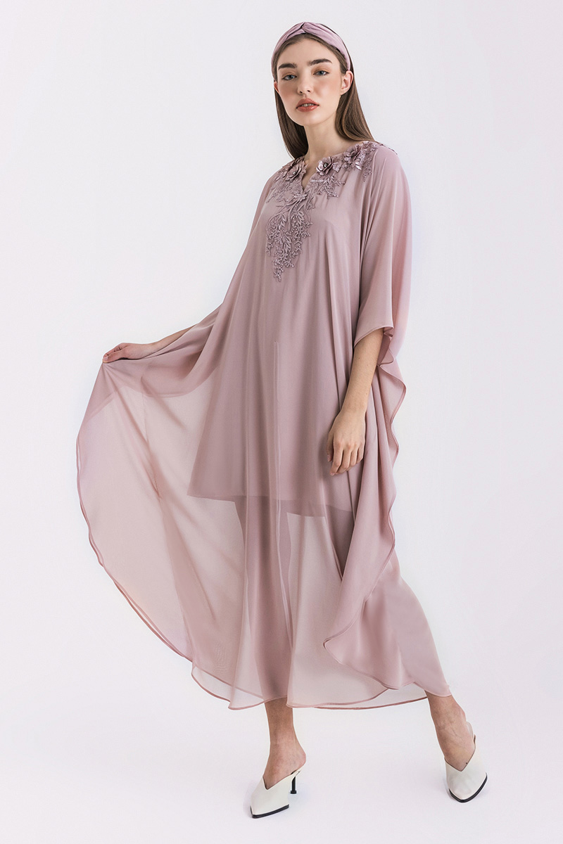ISRA KAFTAN DRESS DUSTY PINK