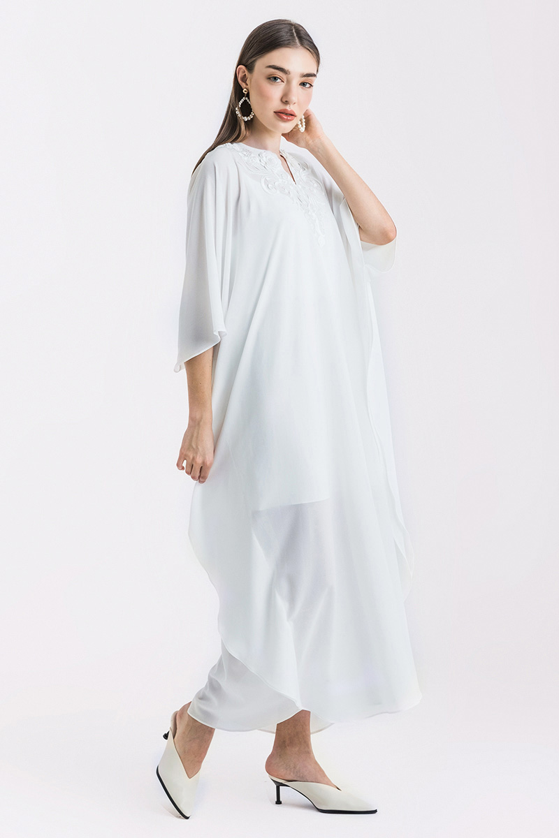 AFRA KAFTAN DRESS WHITE