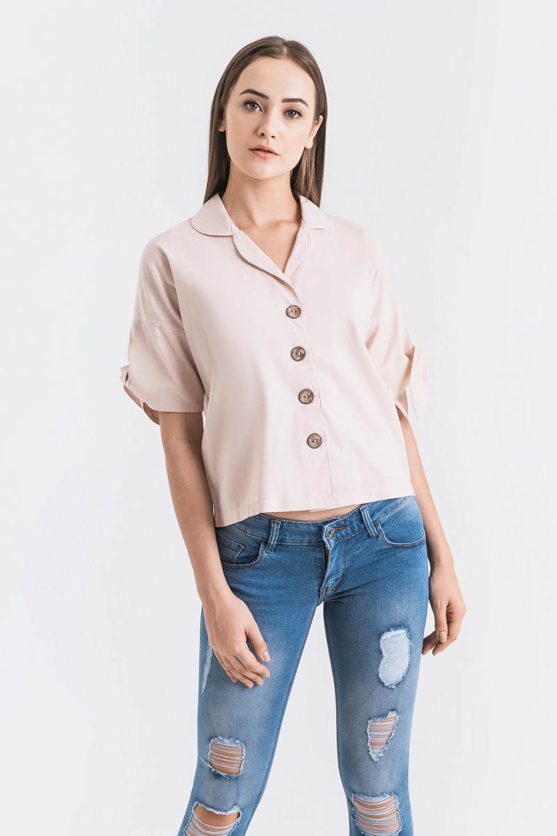 DOWNY LINEN TOP DUSTY PINK