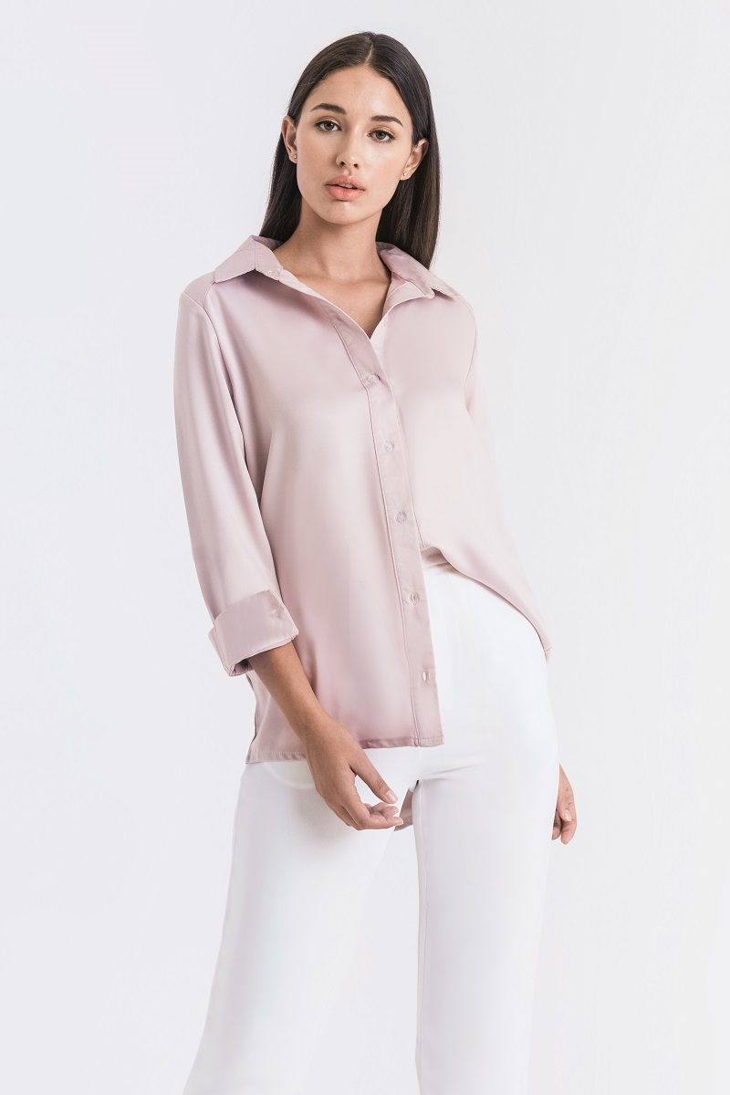 KATNISS SATIN SHIRT PINK