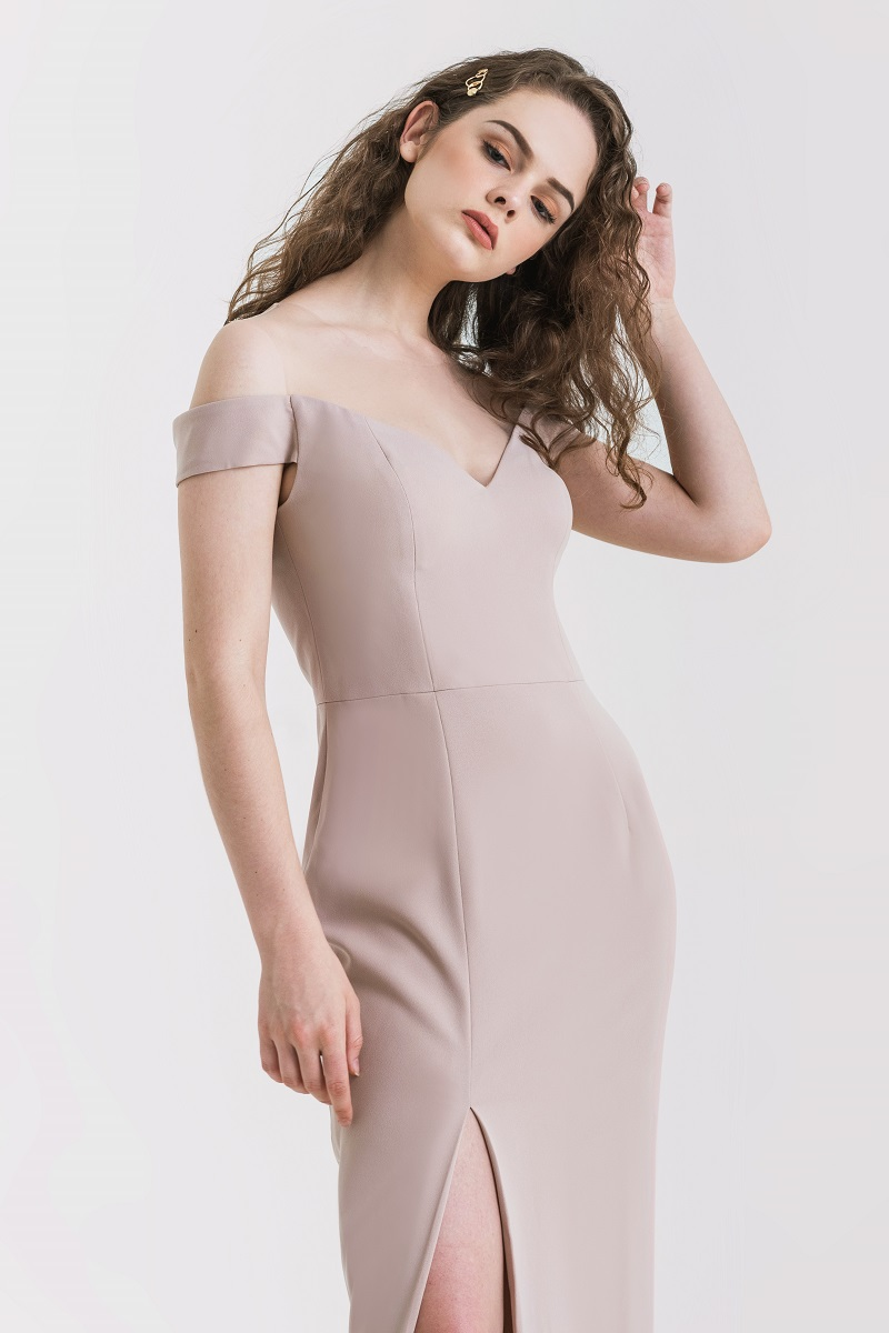 CANNA LONG DRESS NUDE