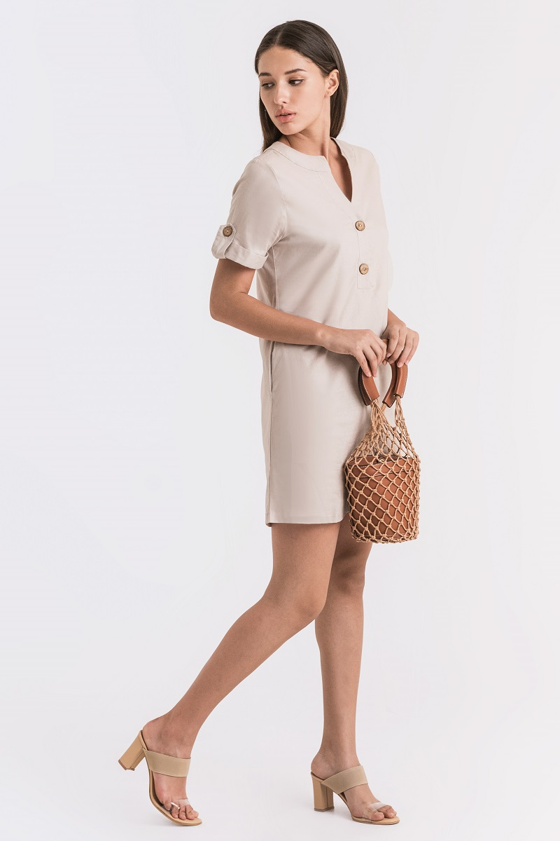 DAISY LINEN DRESS NUDE