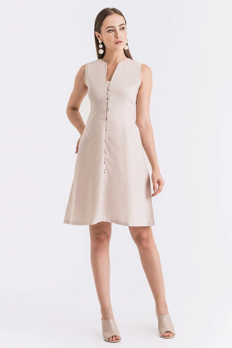 JUNE LINEN DRESS NUDE