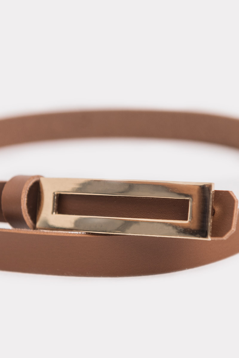 LEIA BUCKLE BELT DARK BROWN