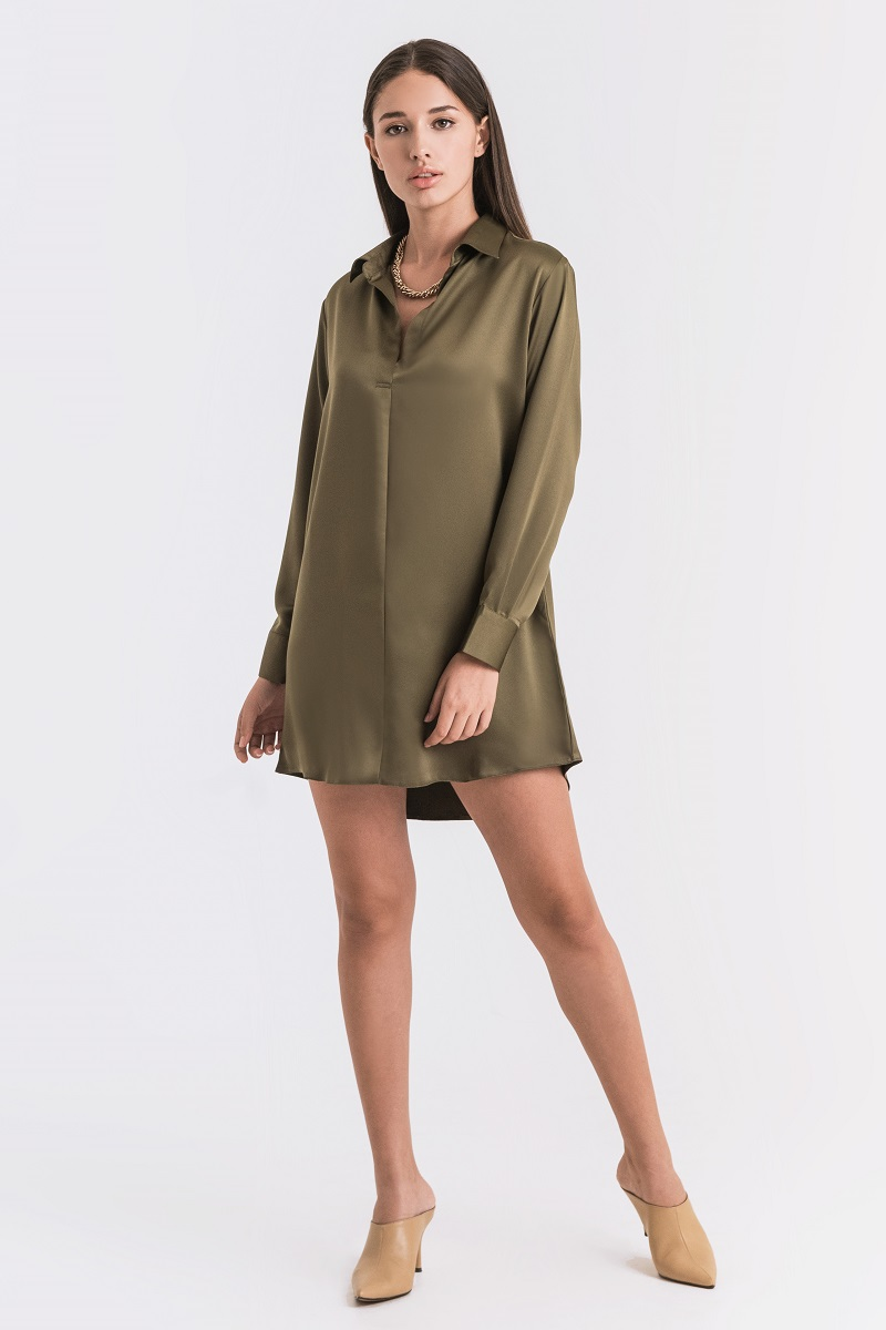 YOORA SATIN DRESS ARMY