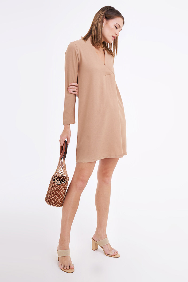 DOWNEE MOSSCREPE DRESS NUDE