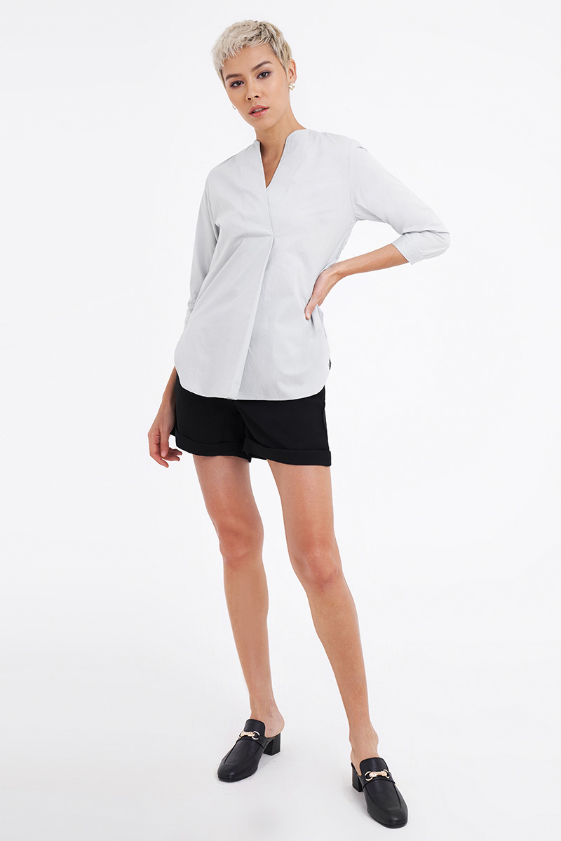 ISLA POPLIN SHIRT GREY
