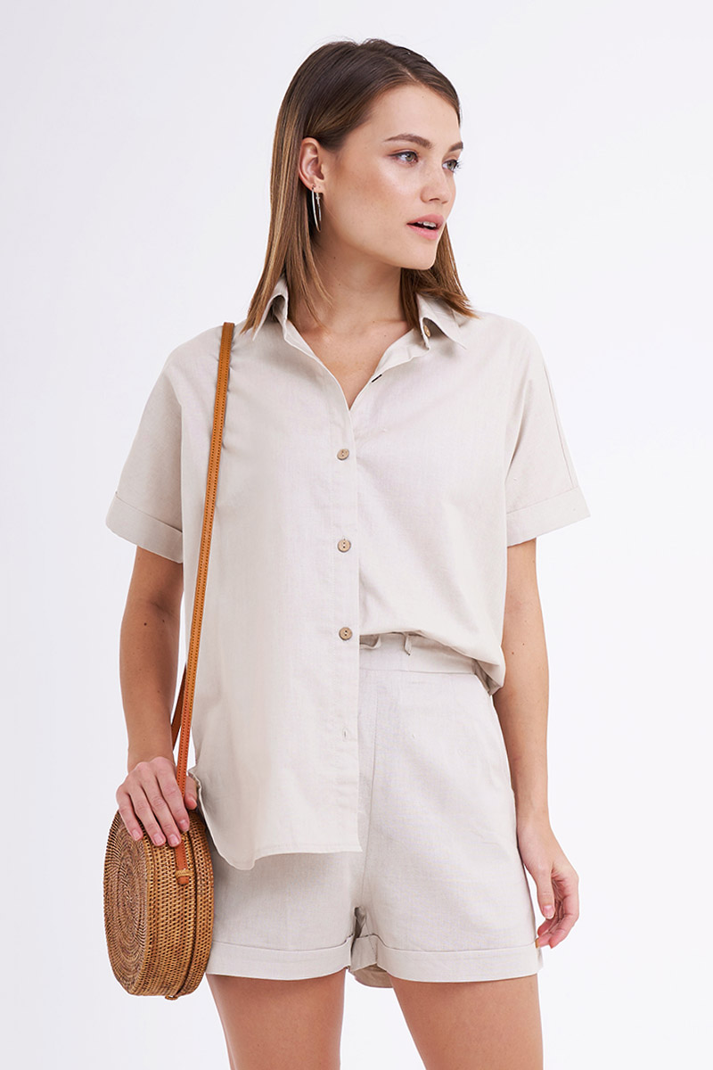 DONIA LINEN TOP NUDE