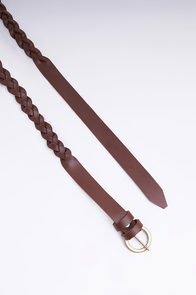 LYANNA BRAIDED BELT DARK BROWN