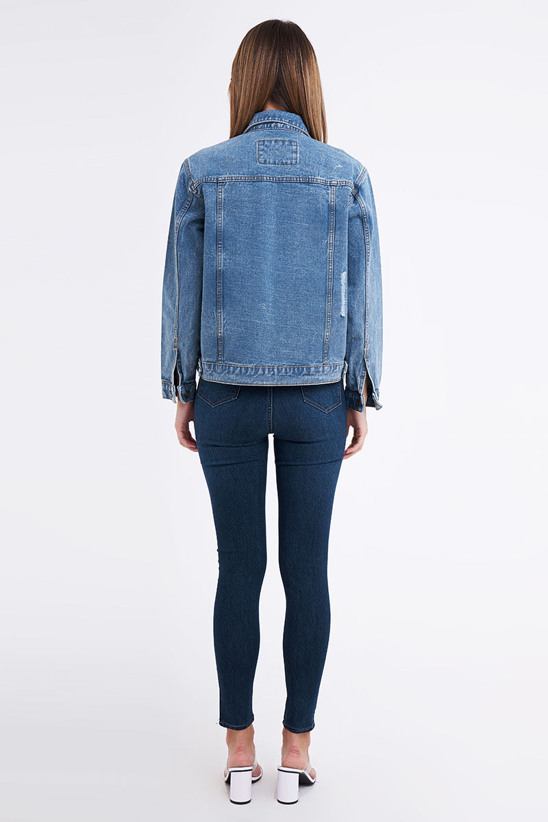 MANHATTAN RIPPED DENIM JACKET BLUE