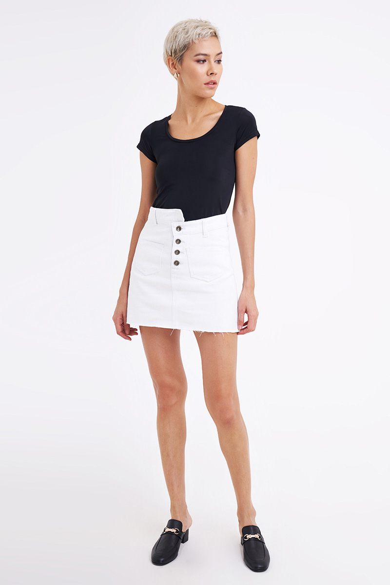 HADE DENIM SKIRT WHITE