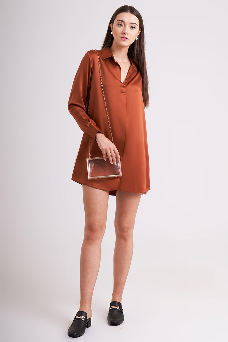 YOORA SATIN DRESS TERRACOTTA