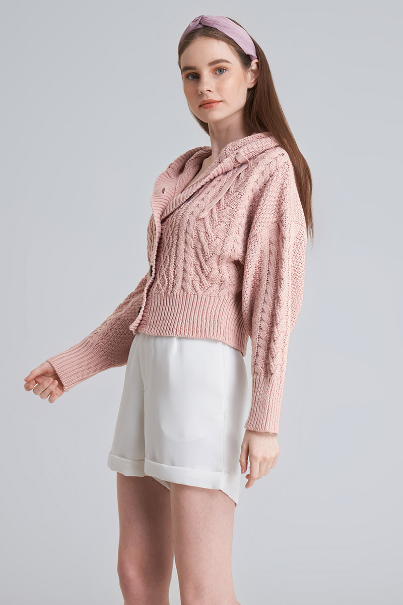 YOKO KNIT OUTER BABY PINK