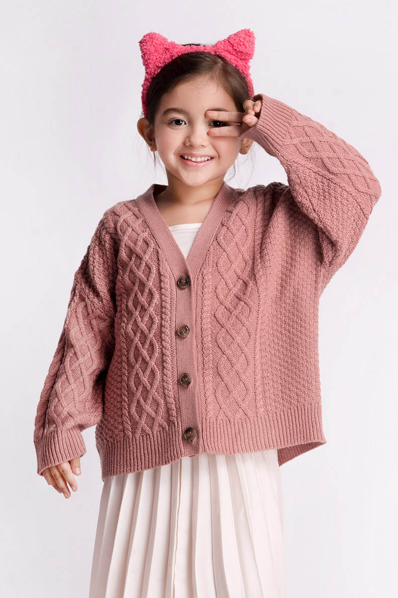 LECA KNIT OUTER DUSTY PINK