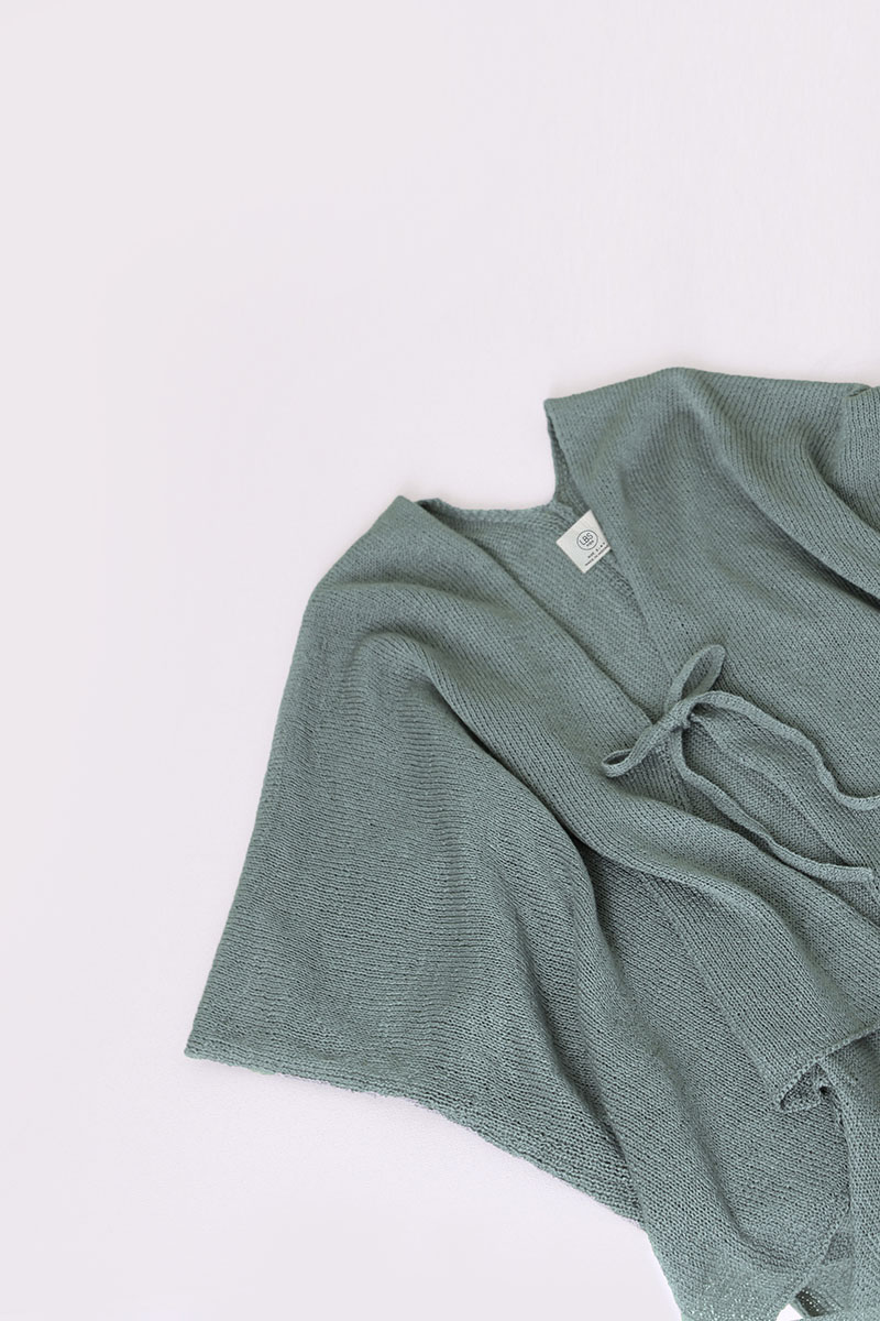 YUMI KNIT OUTER SAGE GREEN