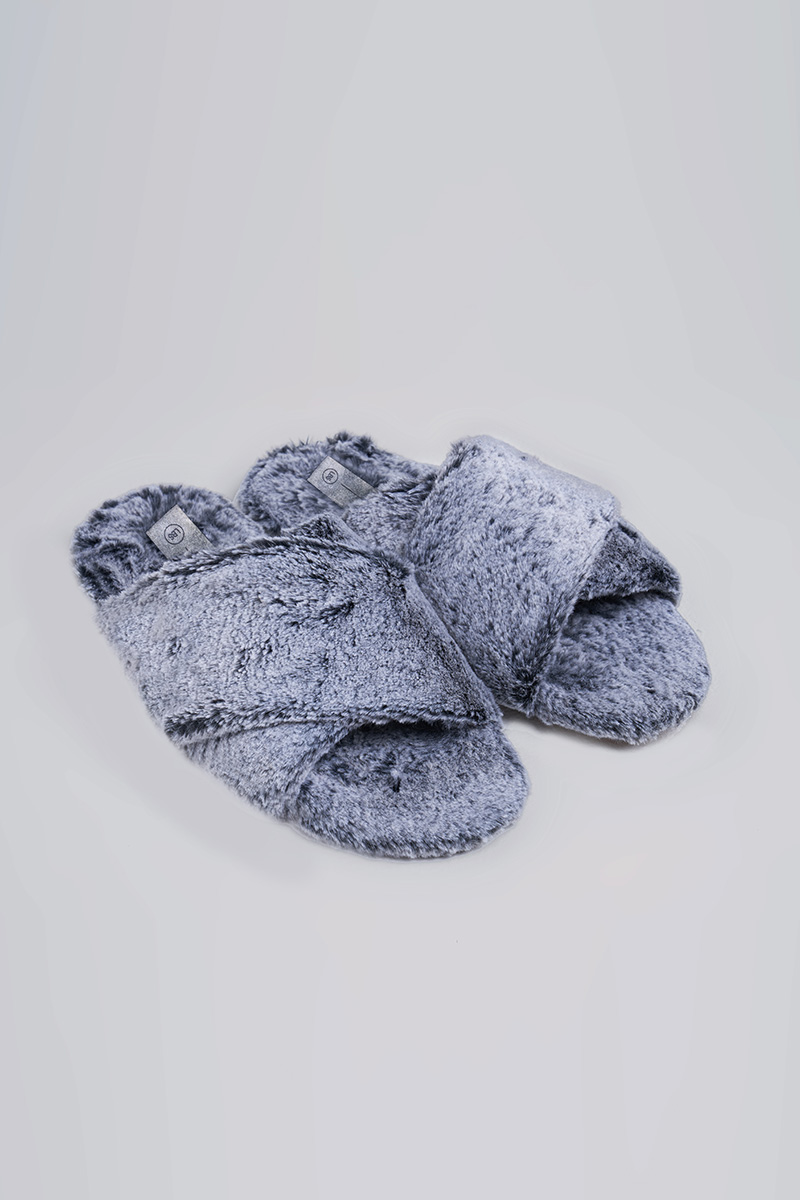 FAUX FUR SLIPPERS ICE BLUE