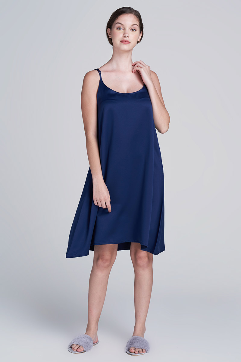 RAIA SATIN DRESS NAVY